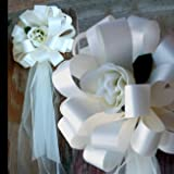 """Ivory Wedding Pull Bows with Tulle Tails and Roses - 8"""" Wide, Set of 6"""