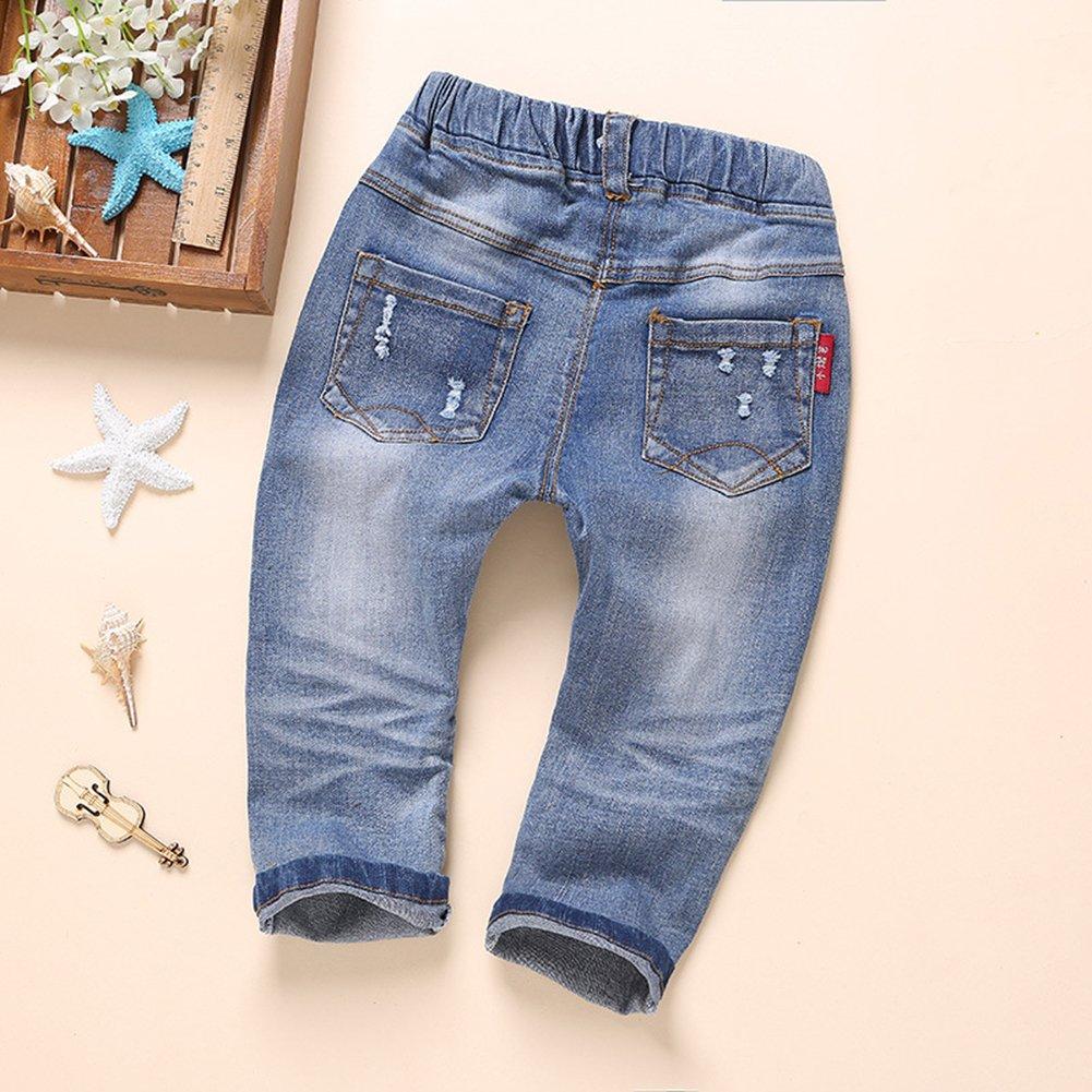 Kidscool Baby and Little Girls Elastic Waist Ripped Holes Denim Pants Jeans Blue 3 - 4 Years by Kidscool (Image #2)