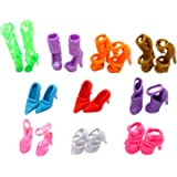 EastVita 10 Pairs of Doll Shoes, Fit Dolls Multicoloured, 1 inch