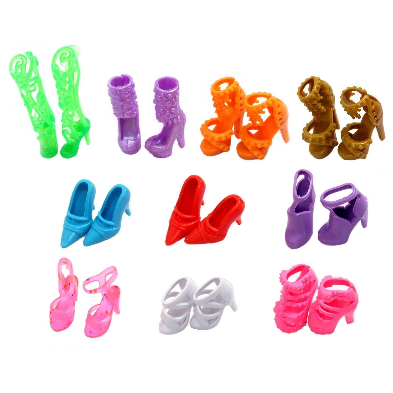 Urparcel 10 Pairs of Doll Shoes, Fit Barbie Dolls SG-E80G-X449