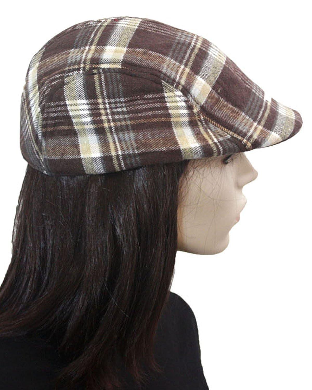 ファッション寸法秋ブラウン格子柄ベレー帽 B00KZI7W6M