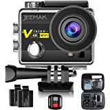 Action Camera, JEEMAK 4K Camera 16MP WiFi Waterproof Camera 170° Ultra Wide Angle Len with SONY Sensor,Remote Control 2 Pcs Rechargeable Batteries and Portable Package