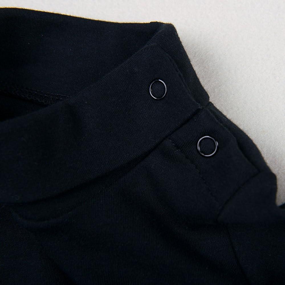 OPAWO Baby Solid Black Turtleneck Bodysuit Boys Girls High Collar Long Sleeve Jumpsuit 0-24 Months