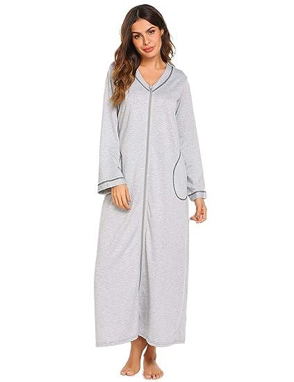 1746cd21d1 Adoeve Nightdress Womens Zip up Sleep Dress Comfy Nightgowns Loung Wear  (Gray