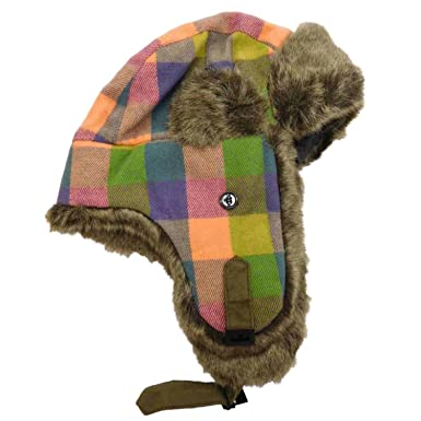 Womens Peach Purple Green Blue   Olive Plaid   Faux Fur Trapper Hat ... b5f513147bc