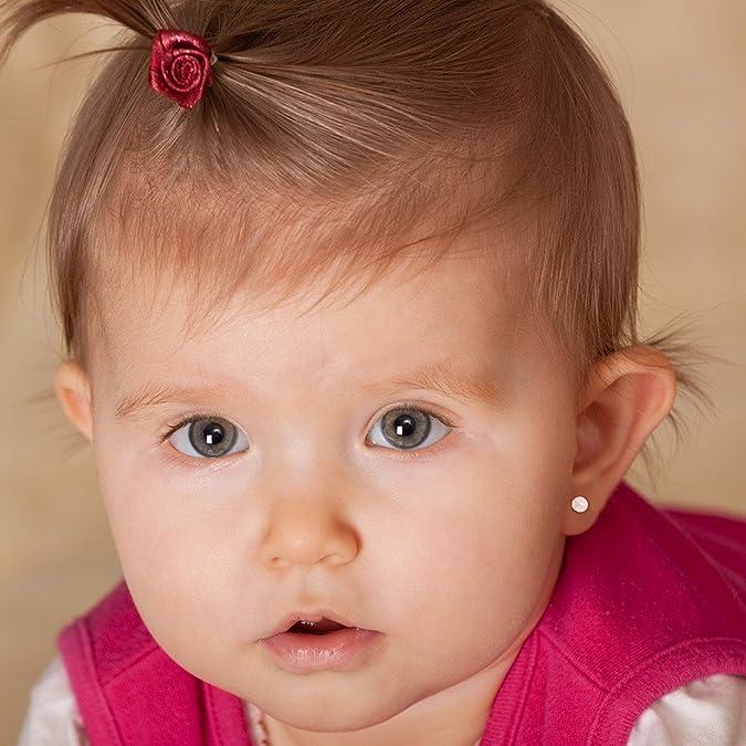 925 Sterlingsilber 4mm 5mm Pink Kunst Perlen Kleinkind Ohrringe Babys Mädchen
