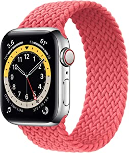 WAAILU Solo Loop Braided Band Woven Compatible for Apple Watch SE Series 6 40mm 44mm Compatible for Iwatch 5/4/3/2/1 38mm 42mm-(Pink-38/40-3)