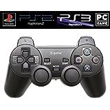 【E-game】 4way ワイヤレスコントローラー DUALSHOC by PS3/PS2/PS/PC (オートスリープ機能 振動対応) クロス & 日本語説明書 & 1年保証付き