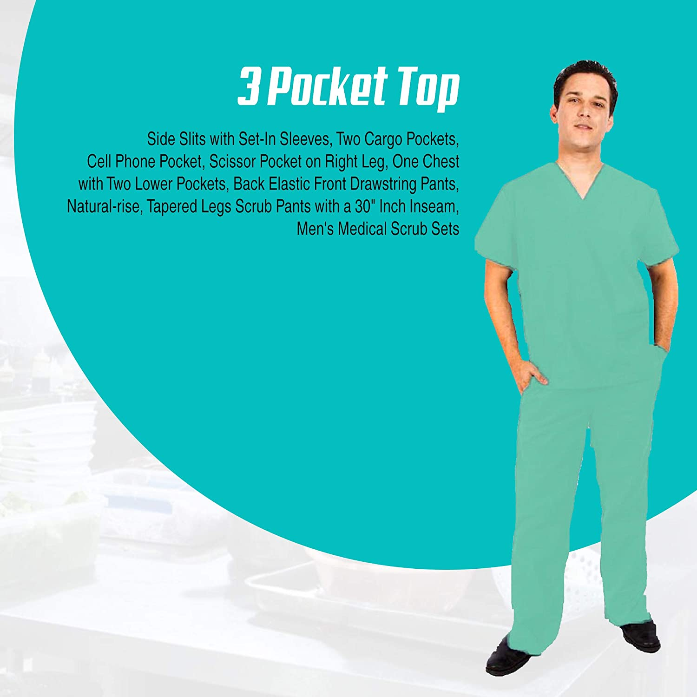 M/&M SCRUBS Men Scrub Set Medical Scrub Top and Pants