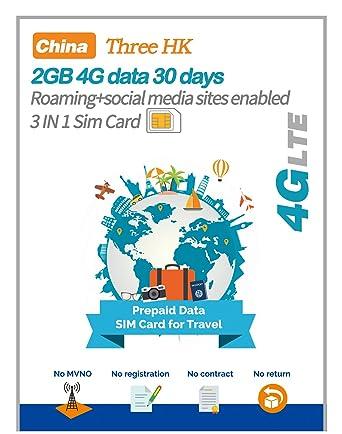 Amazon.com: China Tarjeta SIM de Prepago 30 Días 2 GB 4 G ...