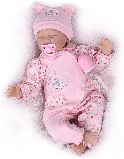 "22/""Silicone Vinyl Handmade Lifelike Baby Doll Reborn Newborn Sleeping Girl"