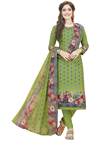 6621ef3da9 Ishin Women's Synthetic Green Printed Unstitched Salwar Suits dress  material with Dupatta: Amazon.in: Clothing & Accessories