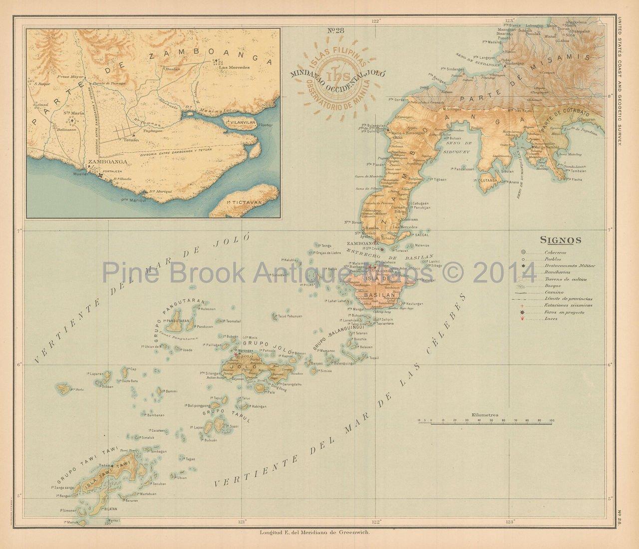 West Mindanao Philippine Islands Antique Map Algue 1899 Authentic