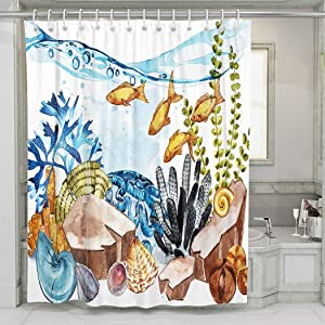 UNFRIY Shower Room Durable Polyester Fabric Marine Life Ocean Aquarium and Cute Fish 60W x72L Washable Shower Curtains for Bathroom Decorative (Hooks Included)
