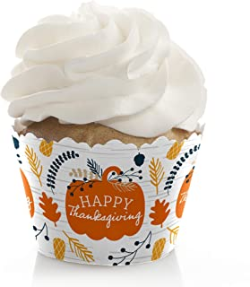 product image for Big Dot of Happiness Happy Thanksgiving - Fall Harvest Party Decorations - Party Cupcake Wrappers - Set of 12