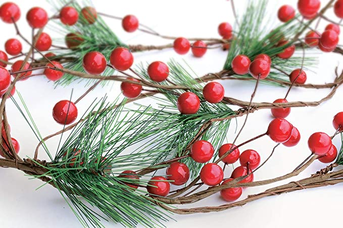 YQing 6Ft Artificial Christmas Garland with Red Berry Pine Needle Fir Xmas Fireplace Garland Holly Berry Garland Garden Gate Hone Decoration for Winter Holiday New Year Decor
