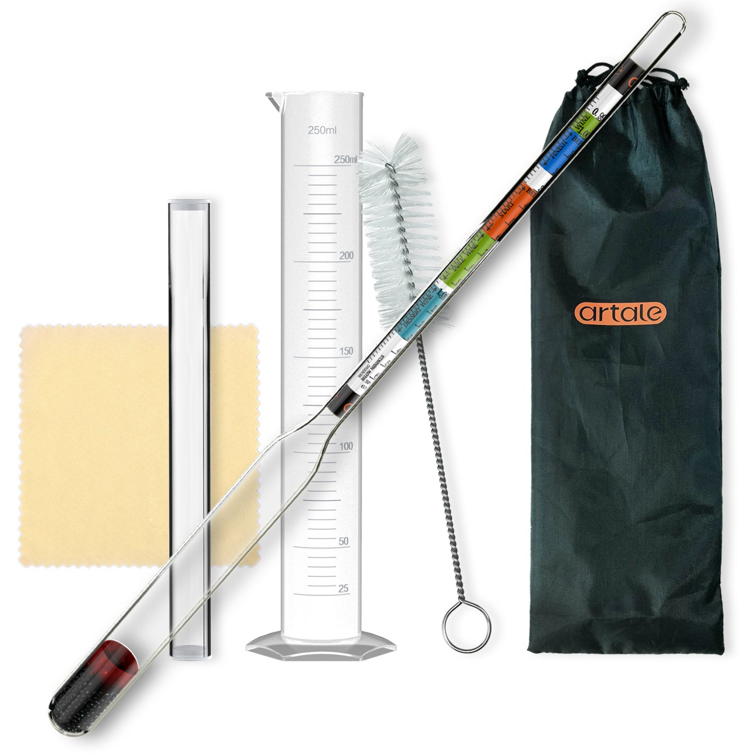 artale Triple Scale Alcohol Hydrometer Test Kit for Home Brew Beer, Wine, Mead, Cider with Specific Gravity Test Kit, 250ml Plastic Test Jar, Cleaning Brush/Cloth/Storage Bag - ABV, Brix and Gravity