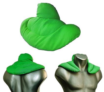 Cojín cervical térmico con cuello. Verde claro. Saco con semillas de lino. Cojín de nuca. Almohada térmica caliente y frio con semillas