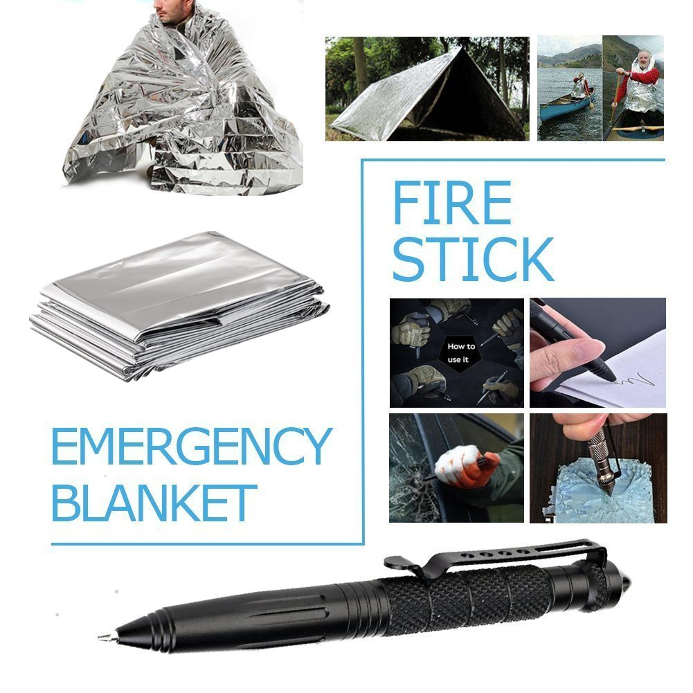 Survival Gear Kits 13 in 1- Outdoor Emergency SOS Survive Tool for Wilderness/Trip / Cars/Hiking / Camping gear - Wire Saw, Emergency Blanket, Flashlight, Tactical Pen, Water Bottle Clip ect, by TRSCIND (Image #5)