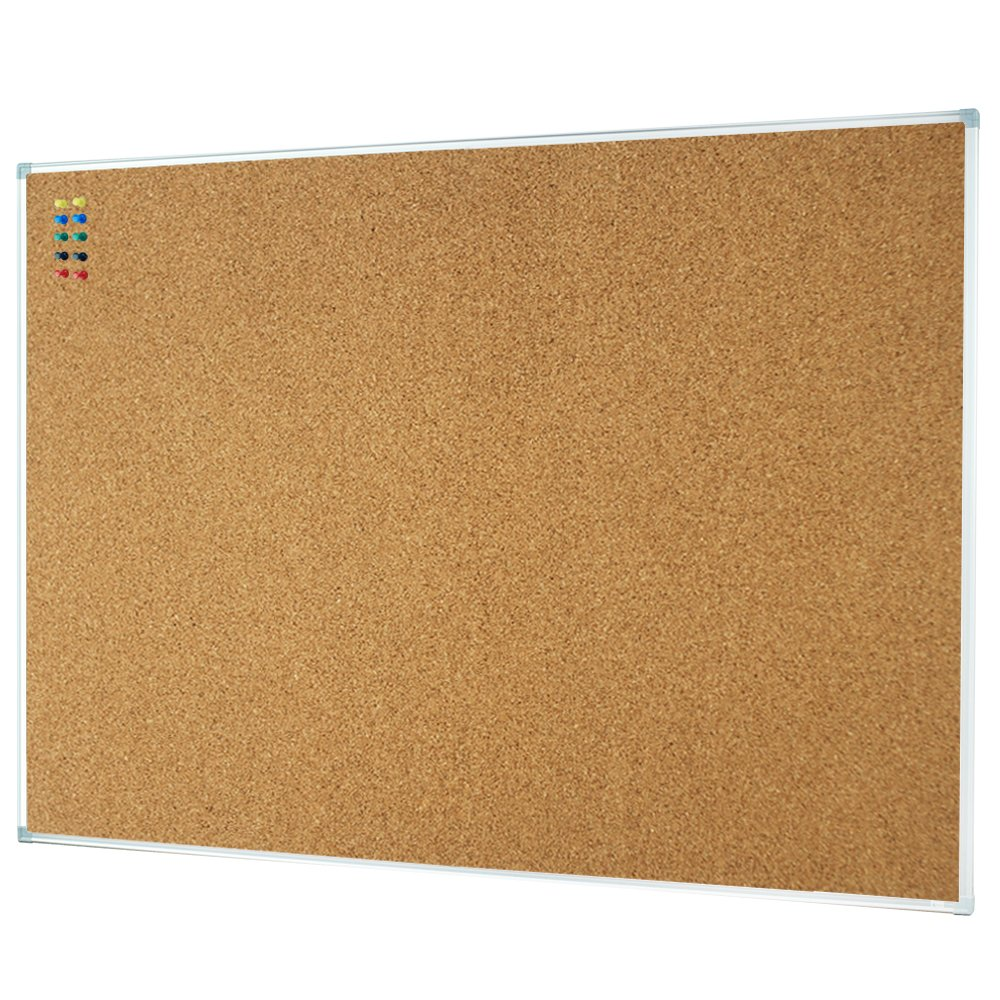 Lockways Corkboard Bulletin Board - Double Sided Cork Board 48 x 36 Notice Message Board 4 x 3 - Silver Aluminium Frame U12118762709 for Home, School & Office (Set Including 10 Push Pins)(36 X 48'')