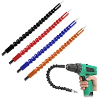 4 Pcs Flexible Drill Bit Extension Screwdriver Soft Shafts 11.6 inch FineGood Universal Drill Connection - Black Red Blue Orange