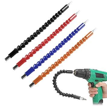Paquete de 4 brocas, extensión de broca flexible, destornilladores, ejes blandos, 11,6 pulgadas, conexión de taladro universal FineGood - negro, rojo, ...