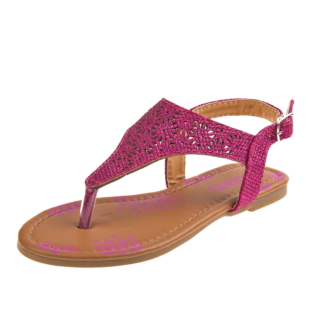 Josmo Girl's T-Strap Glitter Thong Sandals, Pink, 3 M US Big Kid'
