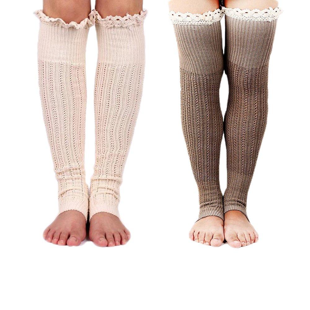 Spring Fever Crochet Lace Trim Cotton Knit Leg Warmers Boot Socks, Beige & Khaki