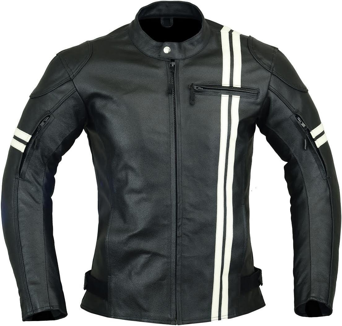 Chaqueta de motociclista de piel para hombre, con alta protección, color negro y blanco, LJ-3021