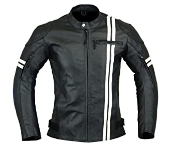 Amazon.com: MENS MOTORCYCLE ARMORED HIGH PROTECTION LEATHER(FULL GRAIN) JACKET BLACK AND WHITE LJ-3024 (M): Automotive