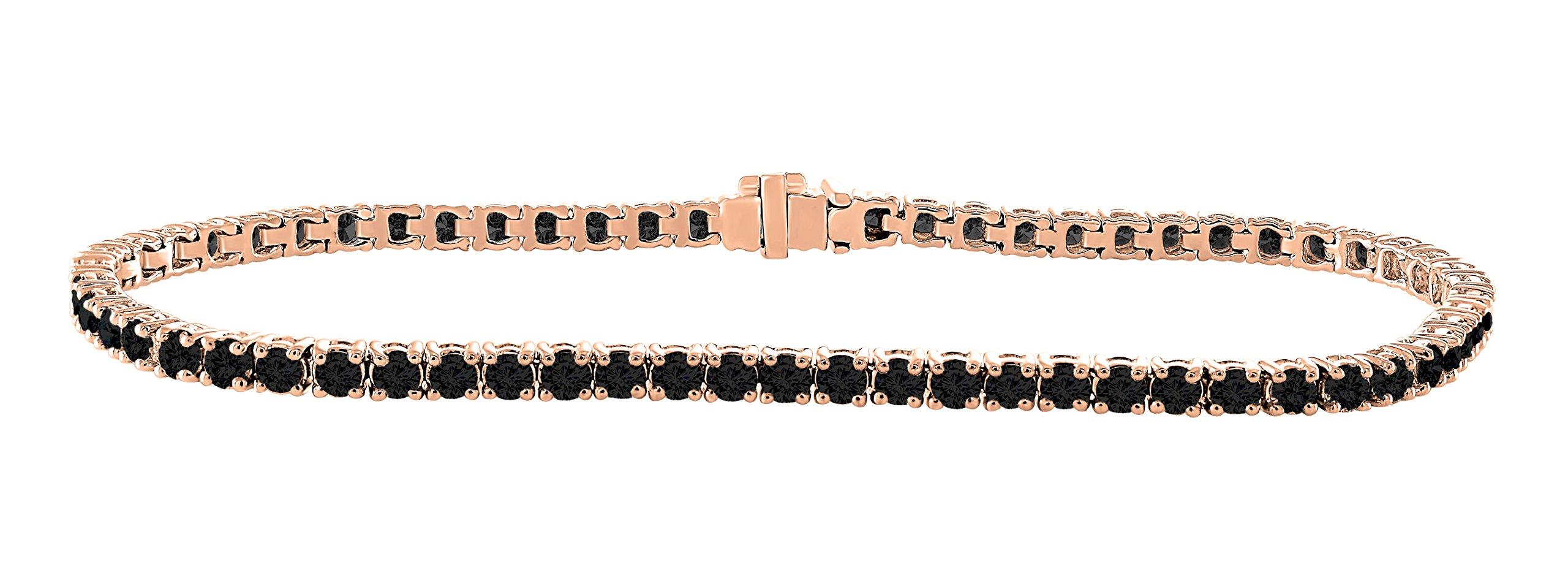 14K Rose Gold 3.00 Carat (ctw) Natural Real Round Cut Black Diamond Tennis Bracelet For Women 7 Inches