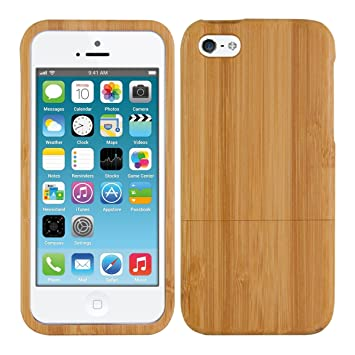 kwmobile Funda para Apple iPhone SE / 5 / 5S - Carcasa protectora de bambú para móvil - Case duro en marrón claro