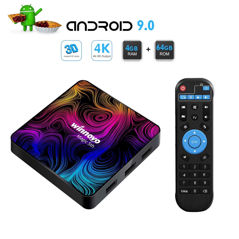 Winnovo 4K Android 9.0 TV Box, Magic 5th Ultra HD 4GB RAM 64GB ROM Smart TV Streaming Player ARM 64 Bits Quad Core Processore, Supporto H.265/WiFi/USB/HDMI