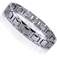 Urban-Jewelry Stunning Solid Tungsten Link Bracelet for Men Polished Pyramid Style (Silver, 11mm)
