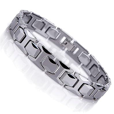 Detaillierung Entdecken Sie die neuesten Trends am beliebtesten Atemberaubendes Solides Wolfram Glieder Armband für Herren im Polierten  Pyramiden Stil (Silber, 11mm)