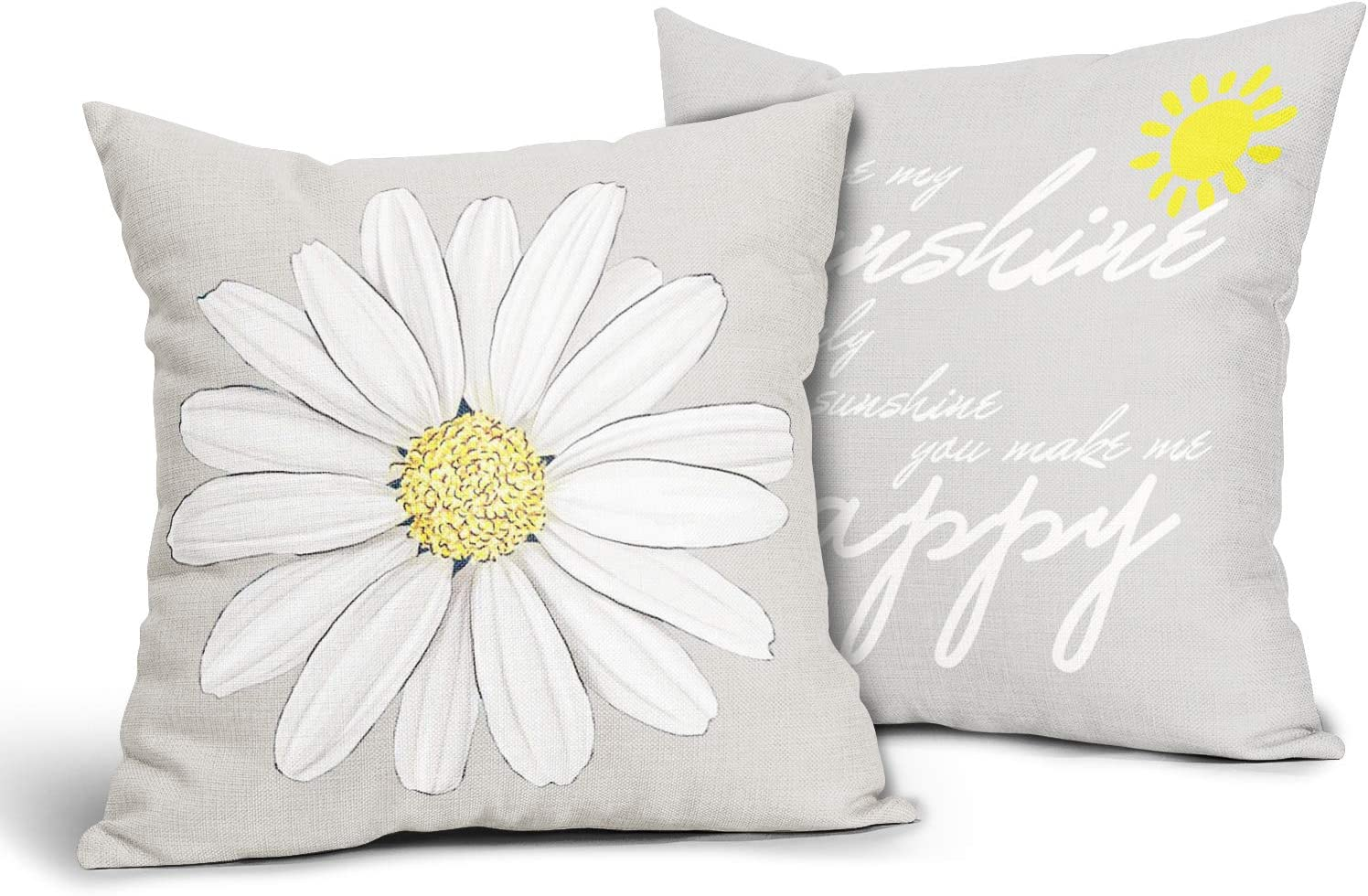 Daisy Pillow Covers 18x18,Sunflower Pillow Cases Yellow and Beige Pillows Set of 2,Summer Sunshine Farmhouse Decor Square Cushion Cover Suitable for Men Women Girls Boys Couch Bedroom Livingroom