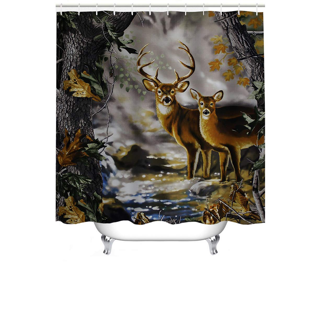 """Cheerhunting Deer Shower Curtain,Deer Couple in The Foggy Jungle, Shower Curtain with Hooks for Bathroom, 72""""W x 72""""H Waterproof Fabric Bathroom Décor"""
