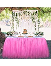 Tutu Tulle Table Skirt Tablecloth Skirt Suitable For Wedding Party Baby Bathing Birthday Cake Table Girl Princess Decoration (Pink)