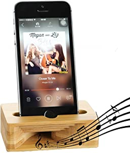 Cell Phone Stand, Fanshu Desktop Mobile Phone Holder Amplifier, Universal Portable Wood Cellphone Dock on Desk Bamboo Bed Stand Mount Cradle for Phone 5 6s 7s 8s Plus X XS Android Type C Smartphone