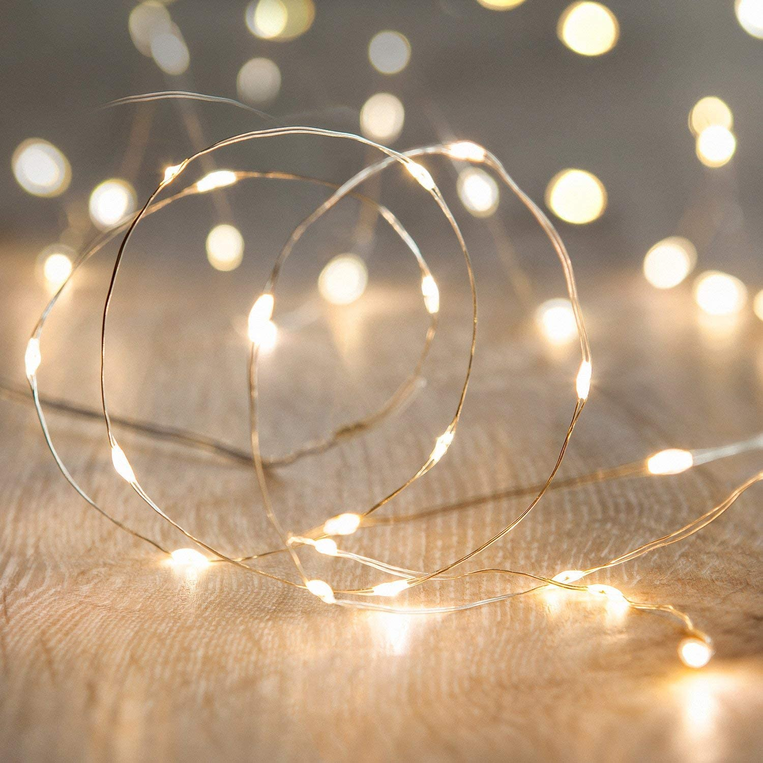 LED String Lights, ANJAYLIA 16.5Ft/5M 50leds Battery Operated Fairy Lights for Garden Home Party Wedding Festival Decorations(Warm White)