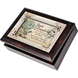 Cottage Garden Good Friends Burlwood With Silver Inlay Italian Style Music Box / Jewelry Box Plays Thats What Friends Are For