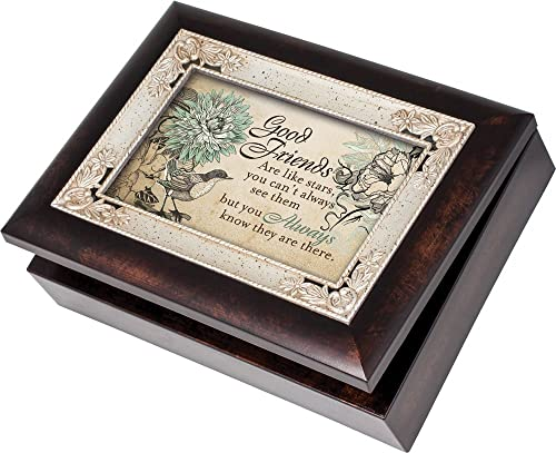 Cottage Garden Good Friends Burlwood With Silver Inlay Italian Style Music Box Jewelry Box Plays Thats What Friends Are For