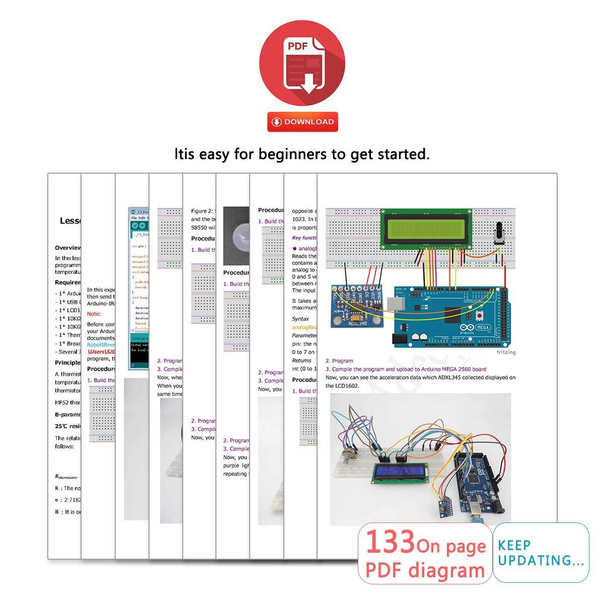 Adeept Ultimate Starter Kit for Arduino Mega2560 LCD1602, Stepper motor,  ADXL345, Learning Kit with PDF Guidebook