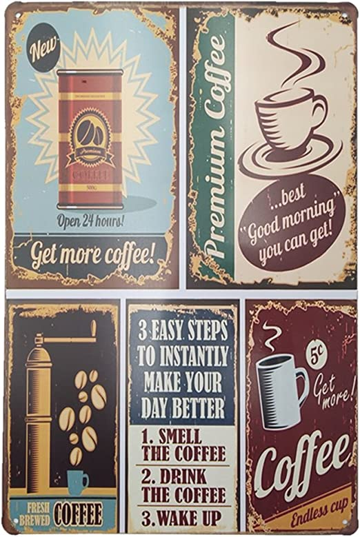 Metal Tin Sign take away coffee Decor Bar Pub Home Vintage Retro Poster Cafe