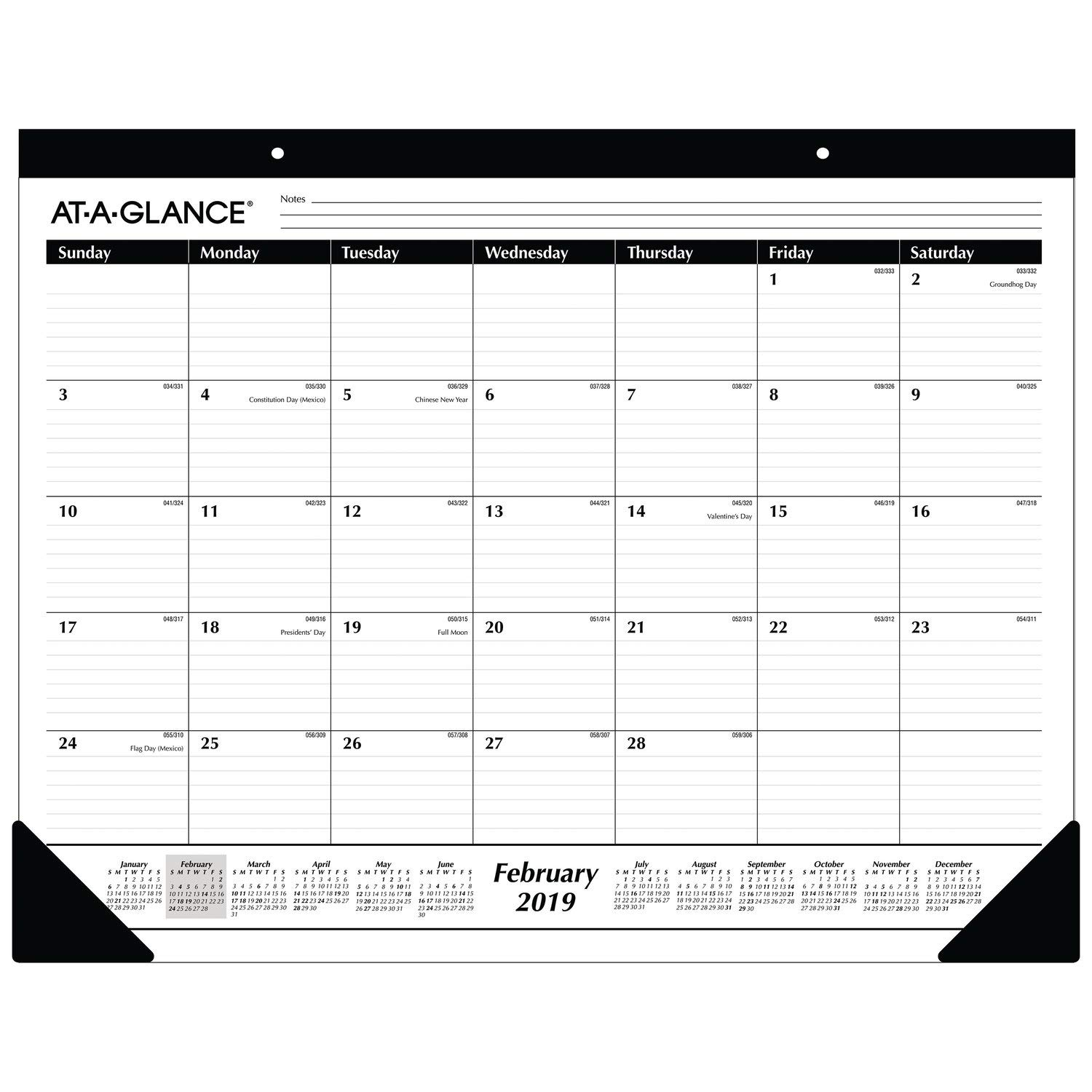 AT-A-GLANCE 2019 Monthly Desk Pad Calendar, 22'' x 17'', Standard, Ruled Blocks (SK2400)
