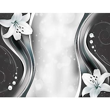 Fototapeten Blumen Lilien Schwarz Weiß 352 x 250 cm Vlies Wand ...