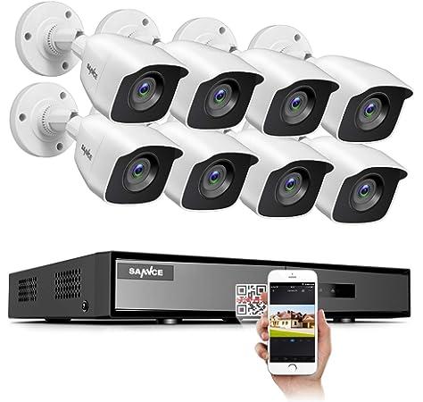 Juego de c/ámaras de vigilancia inal/ámbricas 1080P 8CH NVR detecci/ón de Movimiento SANNCE visi/ón Nocturna hasta 30 Metros 4 x 1080P para Exteriores con Disco Duro de 1 TB