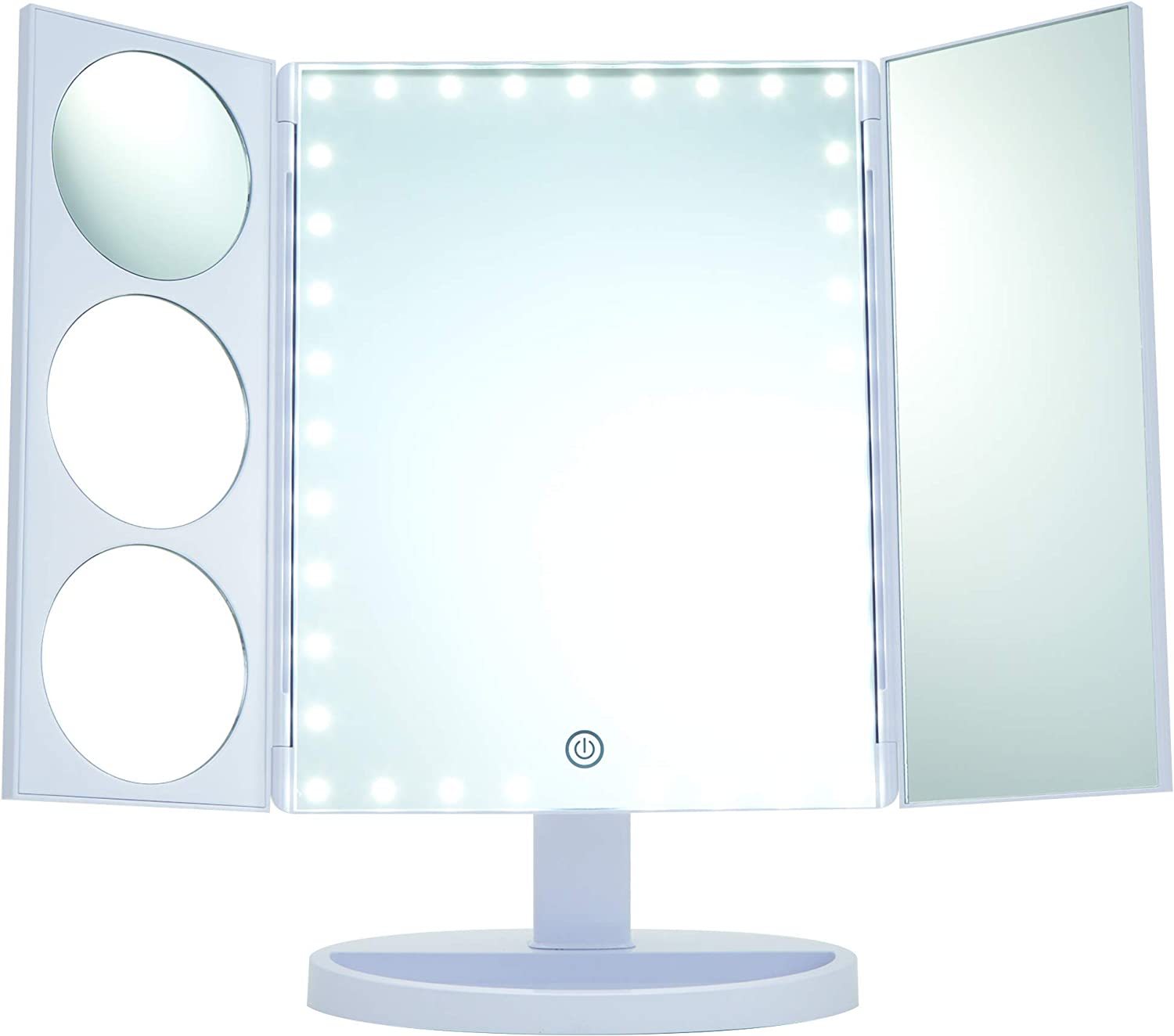 Thinkspace Beauty Large Trifold Magnifying Makeup Mirror with LED Lights, White