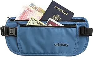 Orbisey Travel Adventure Hidden Waist Money Belt Water-Resistant for Passport Credit Cards Phone Documents One-Size Fits All (Blue)