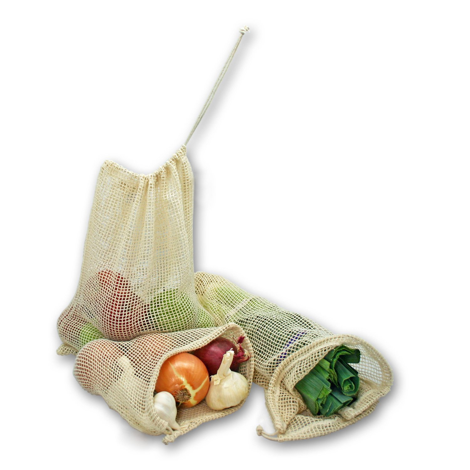 Reusable Produce Bags, DayBuy Organic Cotton Grocery Bag[Natural Cotton Mesh is Biodegradable][Zero-Waste] for Grocery Shopping and Storage, Recyclable, Washable - Set of 9 (3 ea. S, M, L)